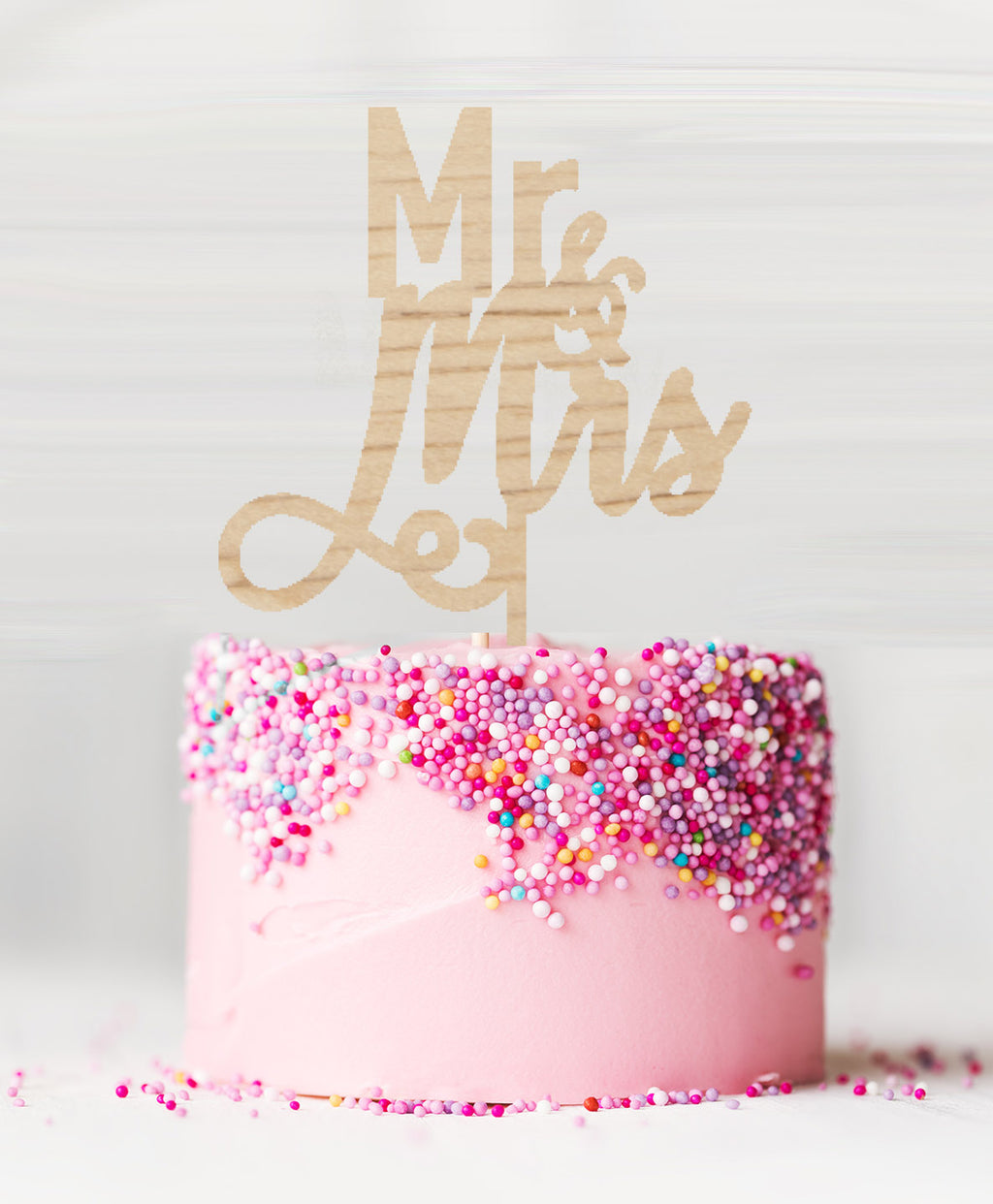 Mr and Mrs Pretty Wedding Wooden Cake Topper Birch Wood