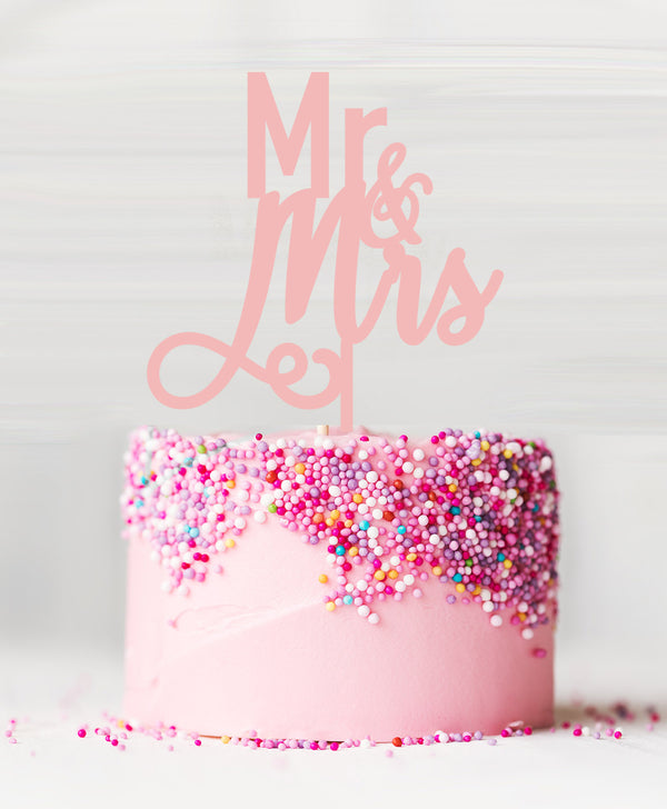 Mr and Mrs Pretty Wedding Acrylic Cake Topper Baby Pink