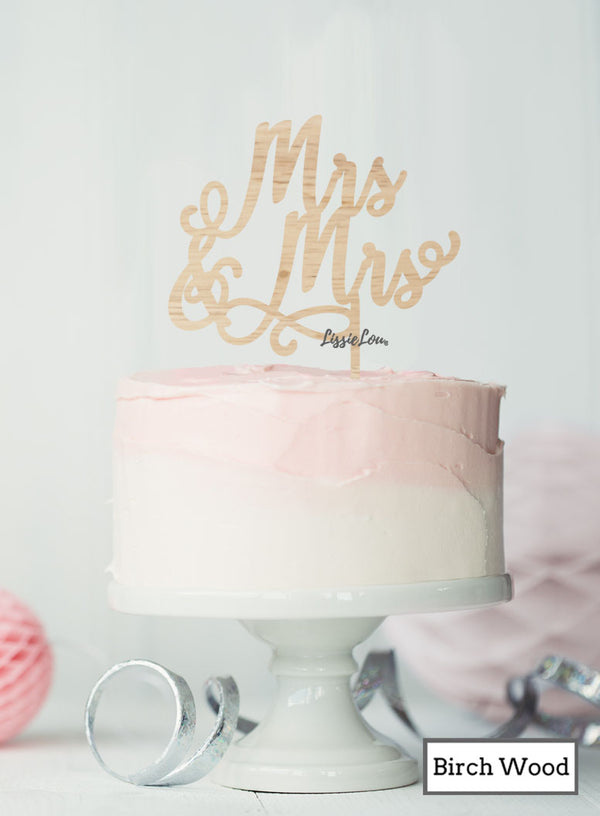 Mrs and Mrs Pretty Same Sex Wedding Cake Topper Premium 3mm Birch Wood