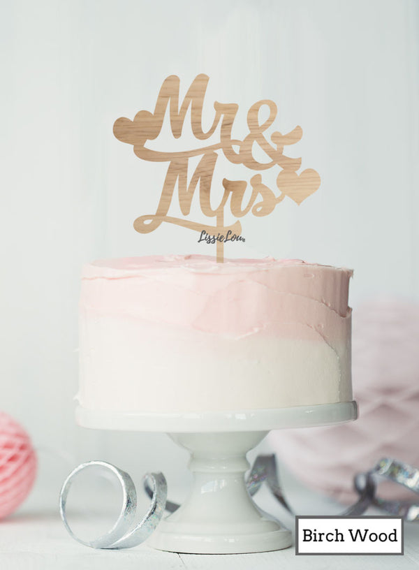 Mr and Mrs Wedding Cake Topper with Hearts Premium 3mm Birch Wood