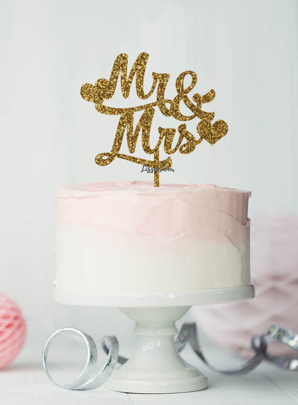 Mr and Mrs Wedding Cake Topper with Hearts Premium 3mm Acrylic Glitter Gold
