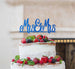 Mrs and Mrs Line Same Sex Wedding Cake Topper Glitter Card Dark Blue