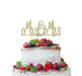 Mrs and Mrs Line Same Sex Wedding Cake Topper Glitter Card Gold