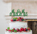Mrs and Mrs Line Same Sex Wedding Cake Topper Glitter Card Green