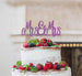 Mrs and Mrs Line Same Sex Wedding Cake Topper Glitter Card Light Purple