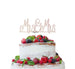 Mrs and Mrs Line Same Sex Wedding Cake Topper Glitter Card White