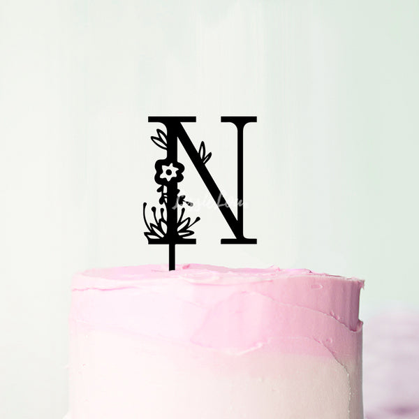 Wedding Floral Initial Letter N Style Cake Topper