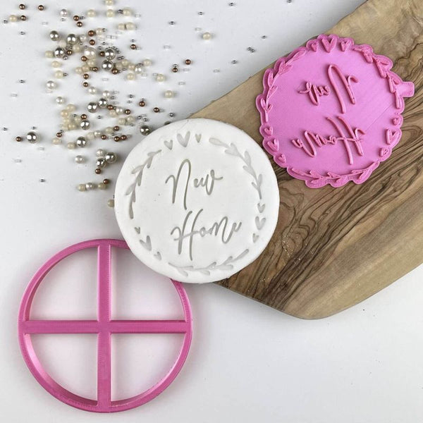 New Home Floral Heart Circle Cookie Stamp
