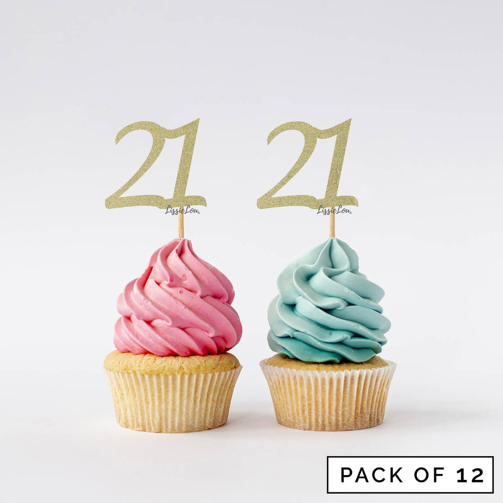 Number 21 Cupcake Toppers Pack of 12