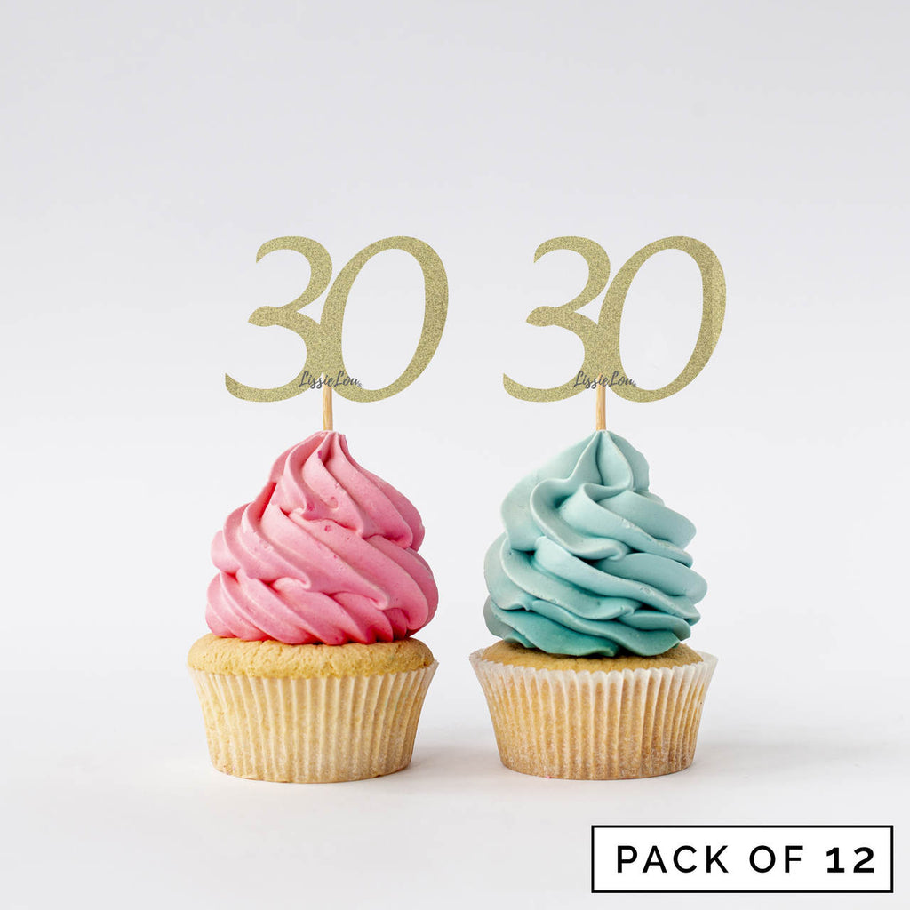 Number 30 Cupcake Toppers Pack of 12