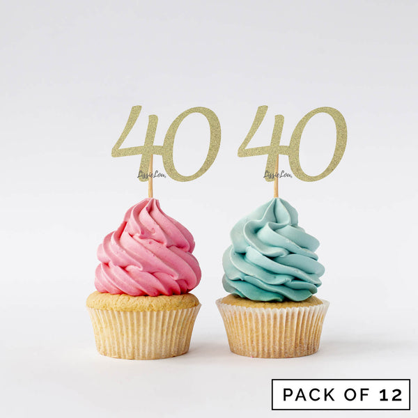 Number 40 Cupcake Toppers Pack of 12