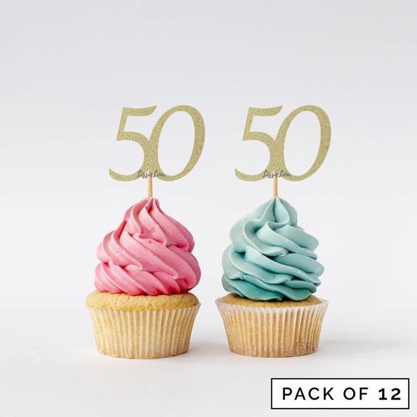 Number 50 Cupcake Toppers Pack of 12