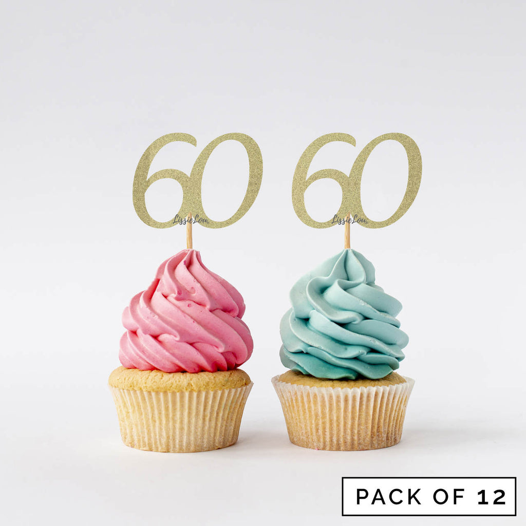 Number 60 Cupcake Toppers Pack of 12