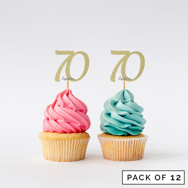 Number 70 Cupcake Toppers Pack of 12