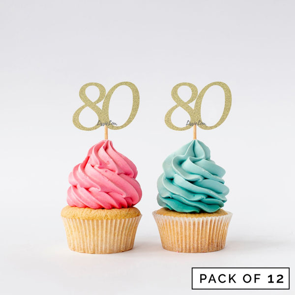 Number 80 Cupcake Toppers Pack of 12