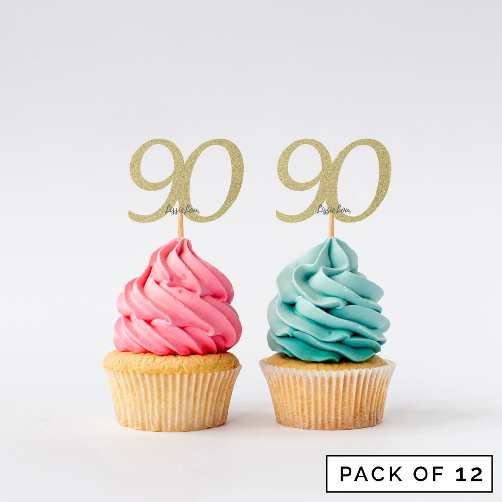 Number 90 Cupcake Toppers Pack of 12