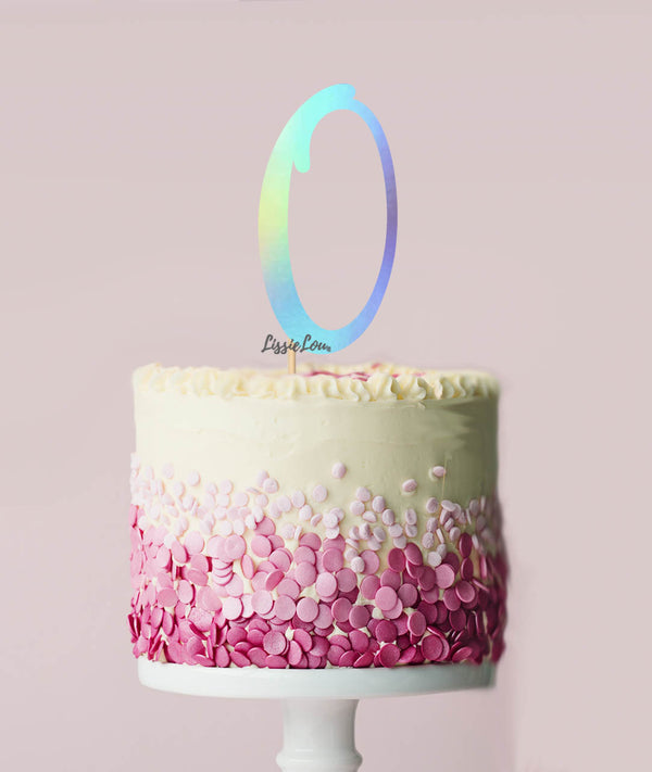 Number 0 Cake Topper Mirror Iridescent Card