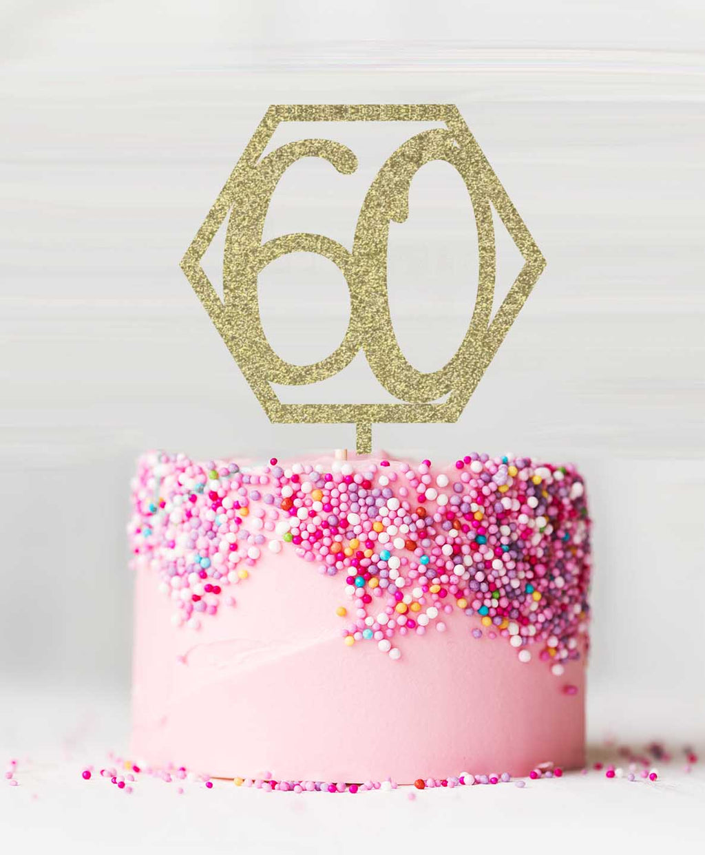 Number 60 Hexagon Acrylic Cake Topper Glitter Gold