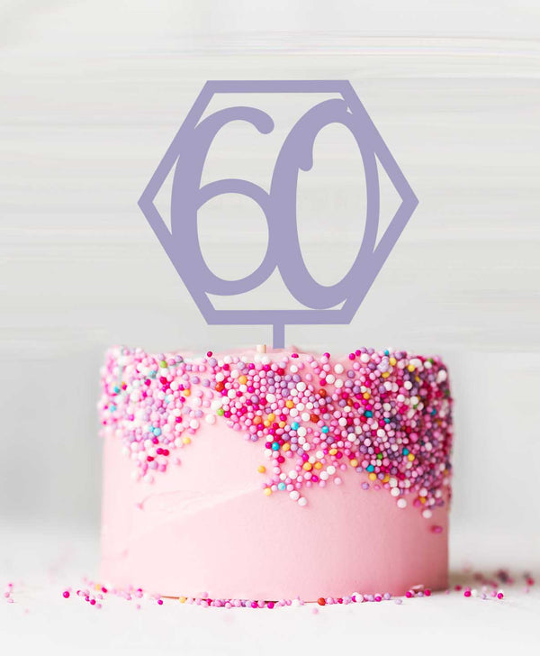 Number 60 Hexagon Acrylic Cake Topper Parma Violet