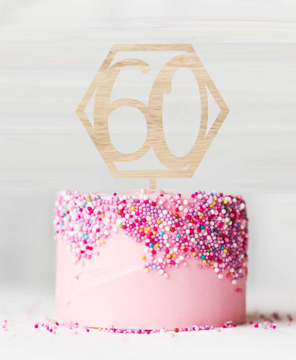 Number 60 Hexagon Birch Wood Cake Topper