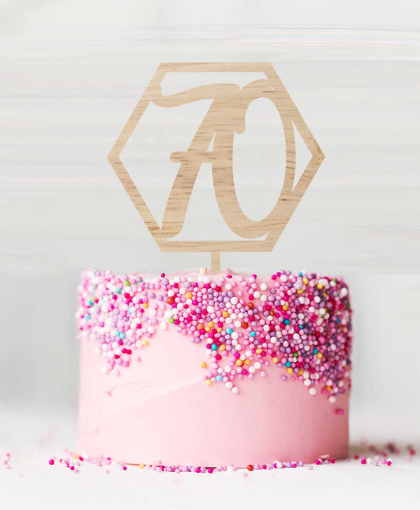 Hexagon Number 70 Birch Wood Cake Topper