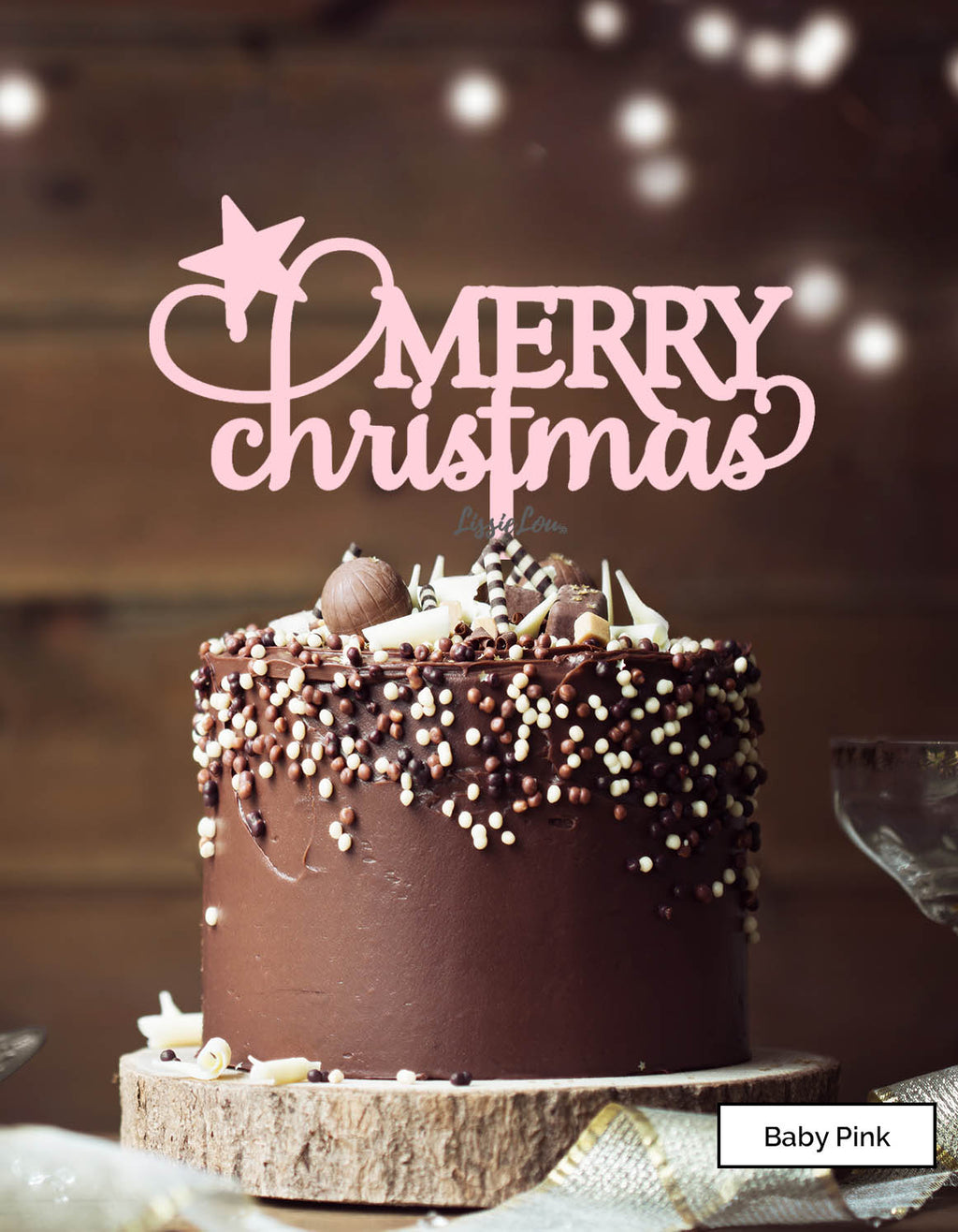 Merry Christmas Star Cake Topper Premium 3mm Acrylic Baby Pink