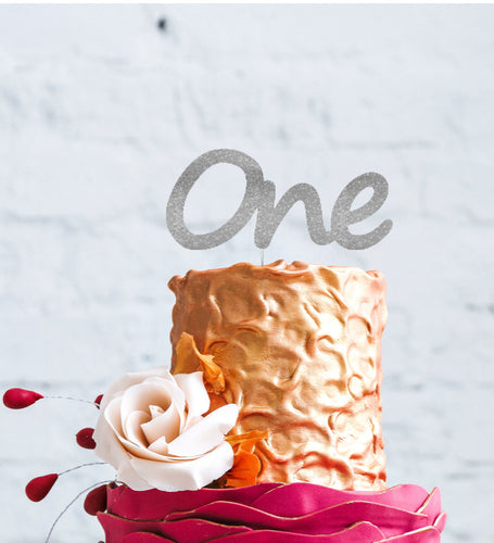 Number One Large Cake Topper - Glittery Silver