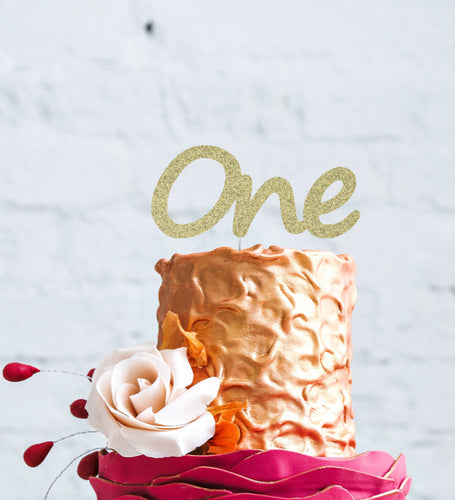 Number One Large Cake Topper - Glittery Gold
