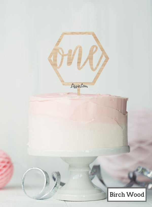 Hexagon Number One Cake Topper Premium 3mm Birch Wood