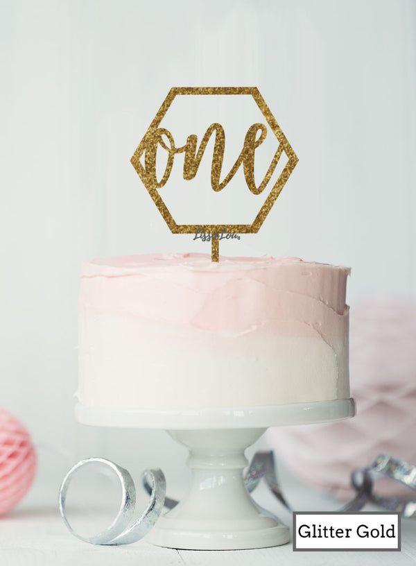 Hexagon Number One Cake Topper Premium 3mm Acrylic Glitter Gold