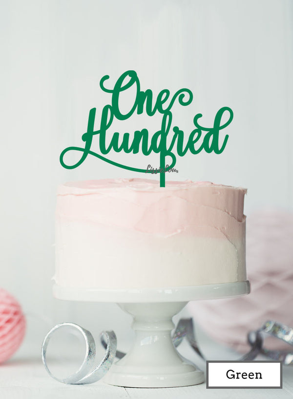 One Hundred Swirly Font 100th Birthday Cake Topper Premium 3mm Acrylic Green