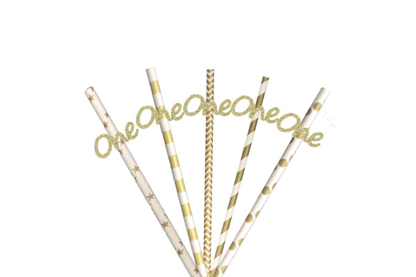 Number One Glittery Party Straws - Glittery Gold with Gold Straws - 1st Birthday Party
