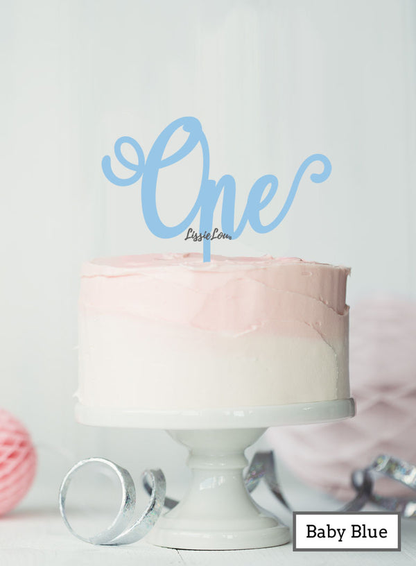 One Swirly Font 1st Birthday Cake Topper Premium 3mm Acrylic Baby Blue
