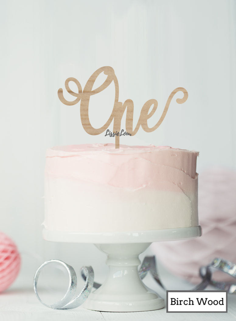 Surprising One Swirly Font 1St Birthday Cake Topper Premium 3Mm Birch Wood Funny Birthday Cards Online Elaedamsfinfo