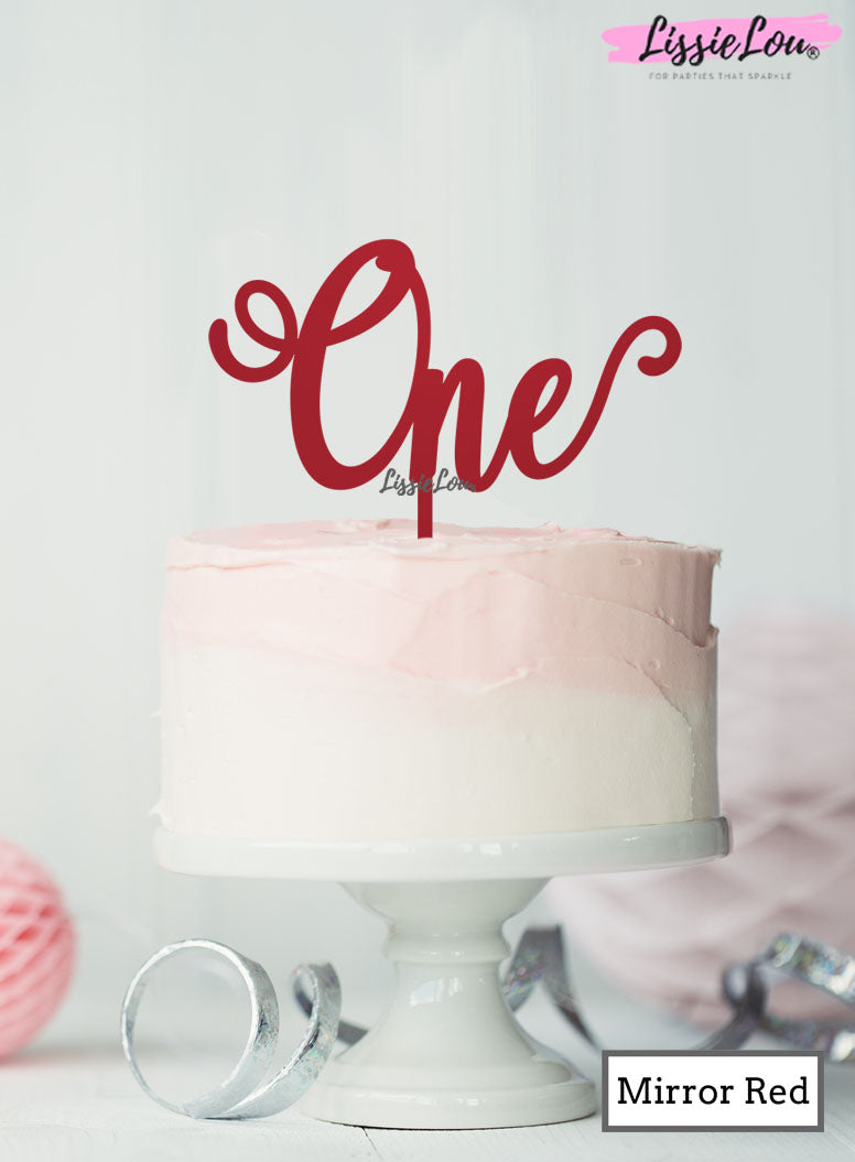 One Swirly Font 1st Birthday Cake Topper Premium 3mm Acrylic Mirror Red