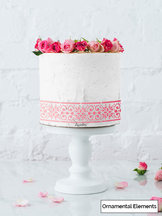 Ornamental Elements Cake Stencil - Border Design