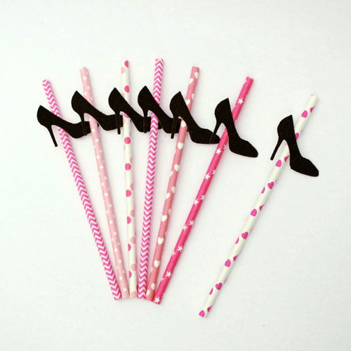Heel Straws - Hen Party Straws - Girlie Heel Straws - Glittery Black with Pink Straws- Pack of 10