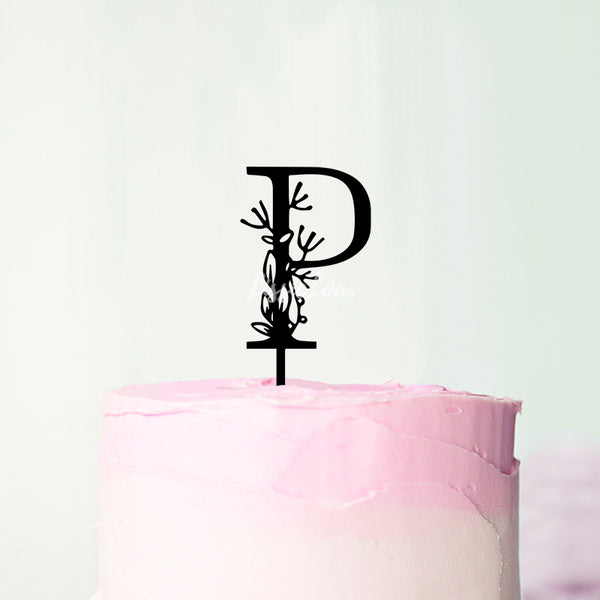 Wedding Floral Initial Letter P Style Cake Topper