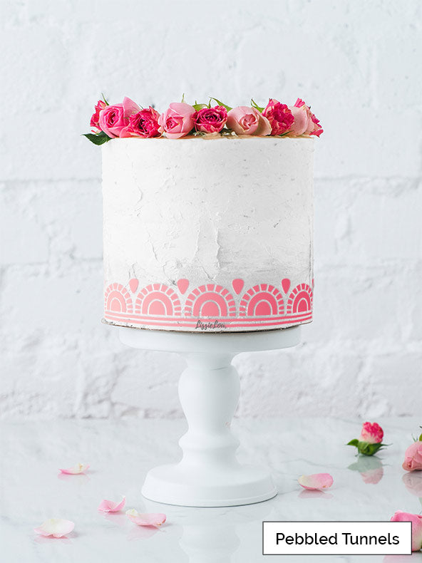 Pebbled Tunnels Cake Stencil - Border Design