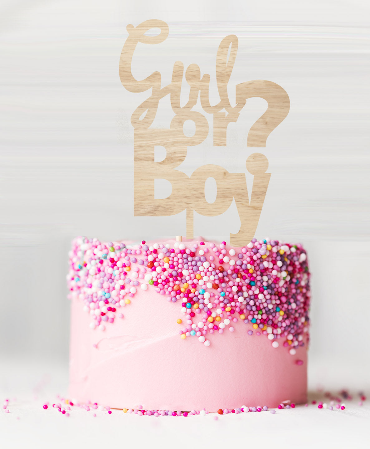 /'Baby Girl/' Bright Pink Glitter Cake Topper Baby Shower Cake Topper Decoration