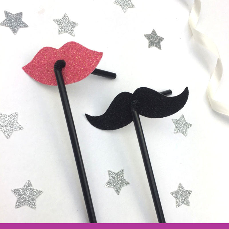 Lip and Moustache Glitter Party Straws Light Pink and Black