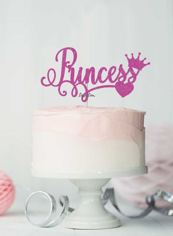 Princess Birthday Cake Topper Glitter Card Hot Pink