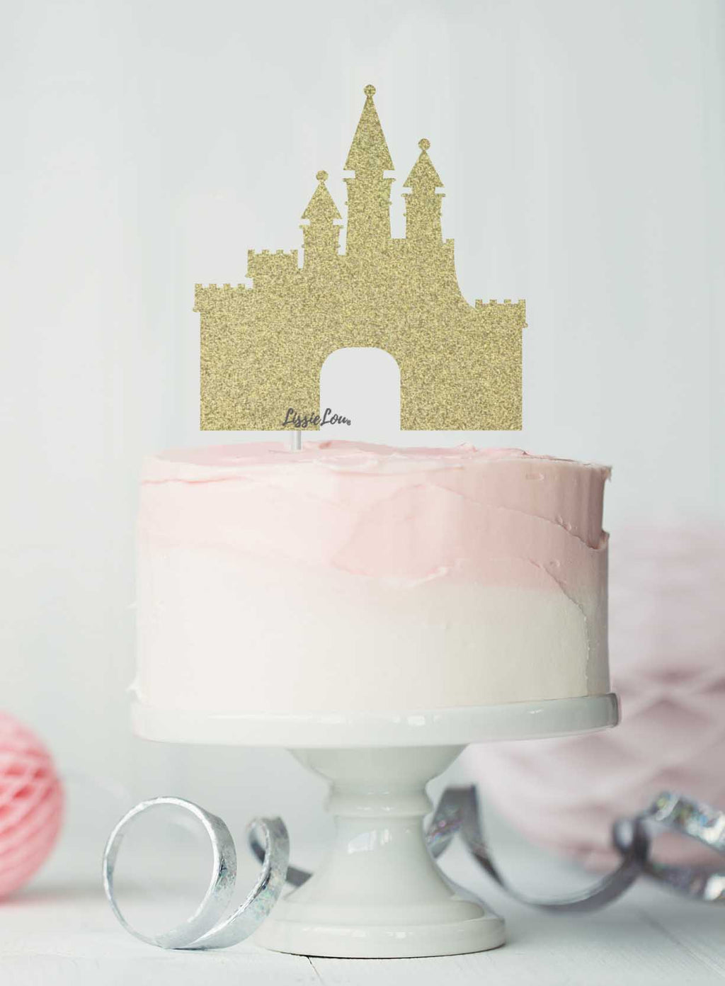Princess Castle Birthday Cake Topper Glitter Card Gold