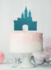 Princess Castle Birthday Cake Topper Glitter Card Light Blue