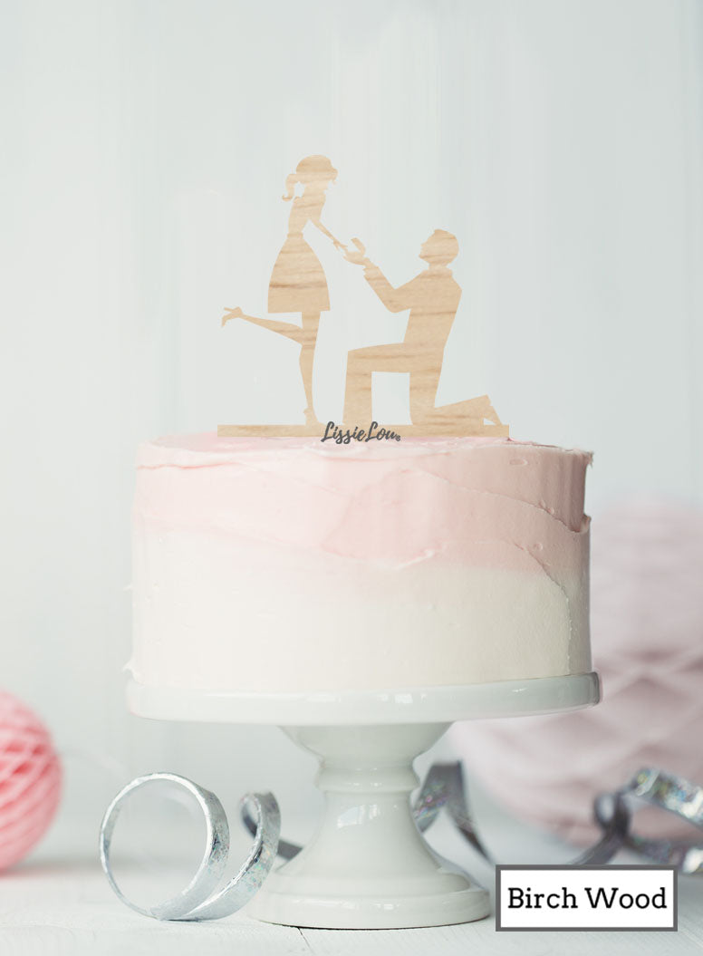 Silhouette Couple Proposal Engagement Cake Topper Premium 3mm Birch Wood