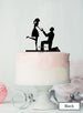 Silhouette Couple Proposal Engagement Cake Topper Premium 3mm Acrylic Black