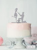 Silhouette Couple Proposal Engagement Cake Topper Premium 3mm Acrylic Metallic Silver
