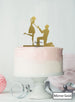 Silhouette Couple Proposal Engagement Cake Topper Premium 3mm Acrylic Mirror Gold