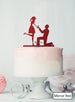 Silhouette Couple Proposal Engagement Cake Topper Premium 3mm Acrylic Mirror Red