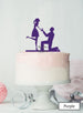 Silhouette Couple Proposal Engagement Cake Topper Premium 3mm Acrylic Purple